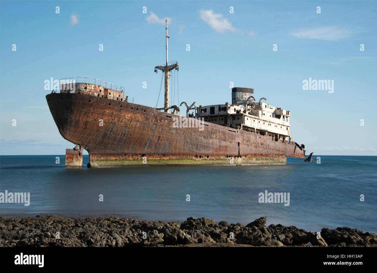 Shipwreck of the Temple Hall off the coast of Arrecife Lanzarote - Stock Image