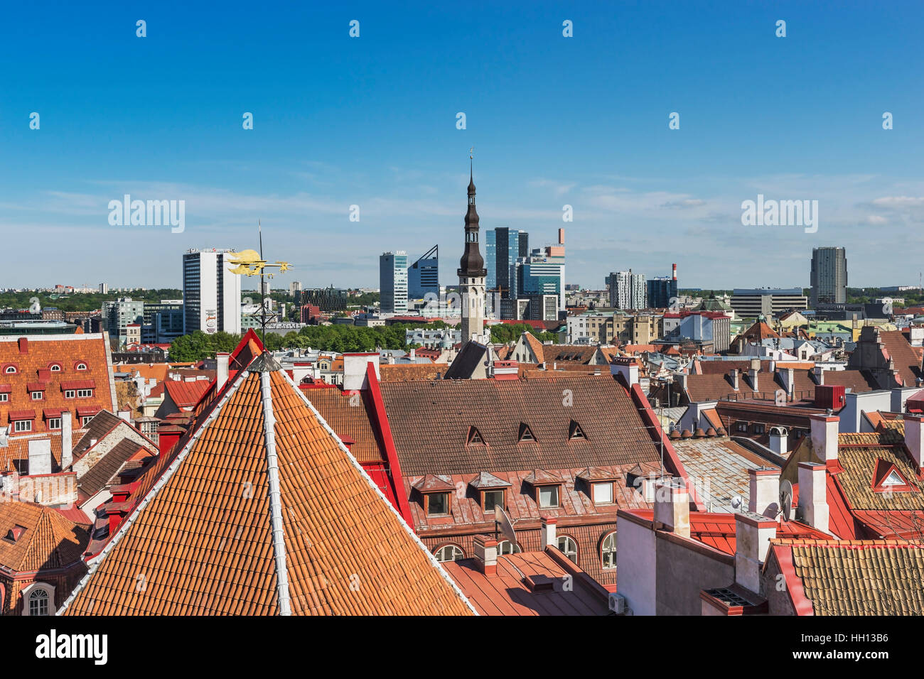 View over Tallinn to the modern houses in the new town area, Tallinn, Estonia, Baltic States, Europe Stock Photo