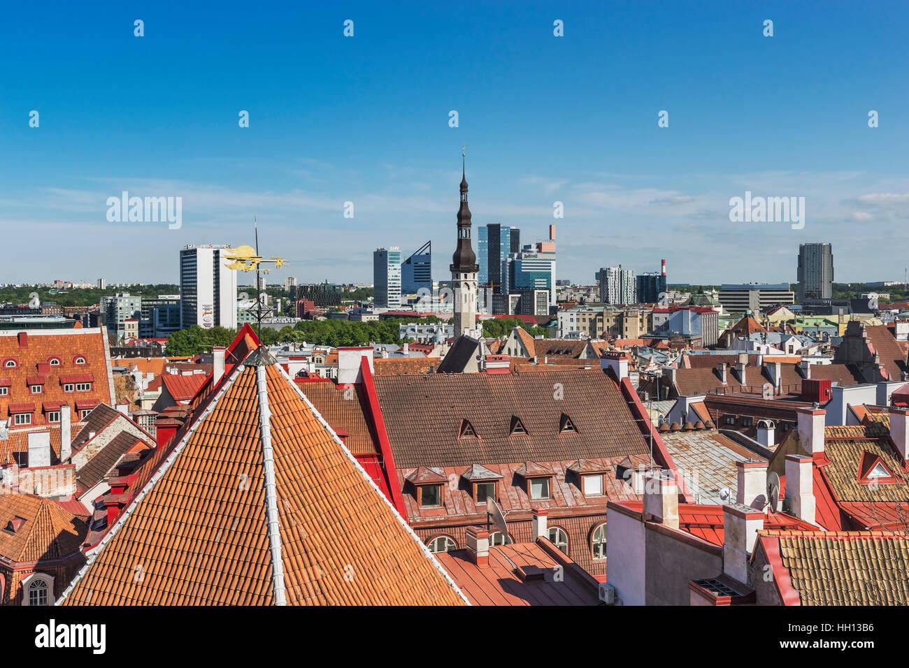 View over Tallinn to the modern houses in the new town area, Tallinn, Estonia, Baltic States, Europe - Stock Image