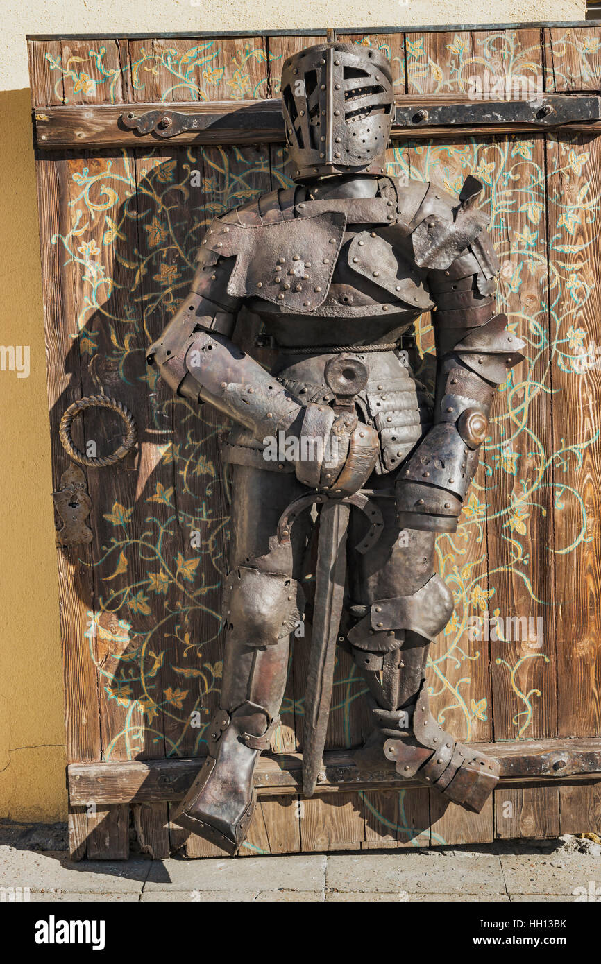 At a souvenir shop on the Cathedral Hill (Toompea) you will find a knights armor, Tallinn, Estonia, Baltic States, - Stock Image