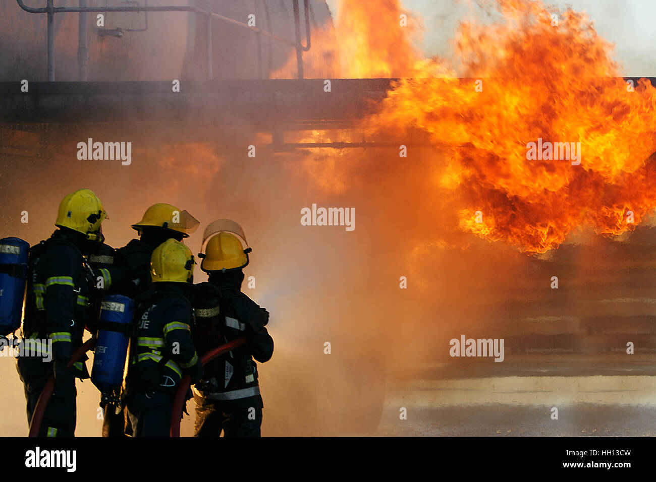 terrorist attack, fire ball explosion - Stock Image