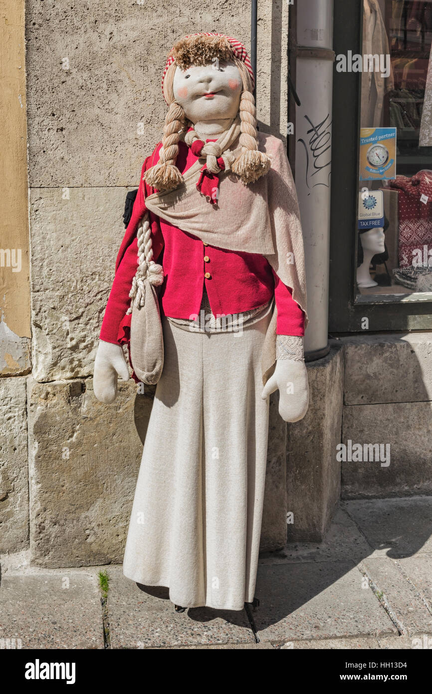 In many places in the old town of Tallinn you will find life-size dolls, Tallinn, Estonia, Baltic States, Europe - Stock Image