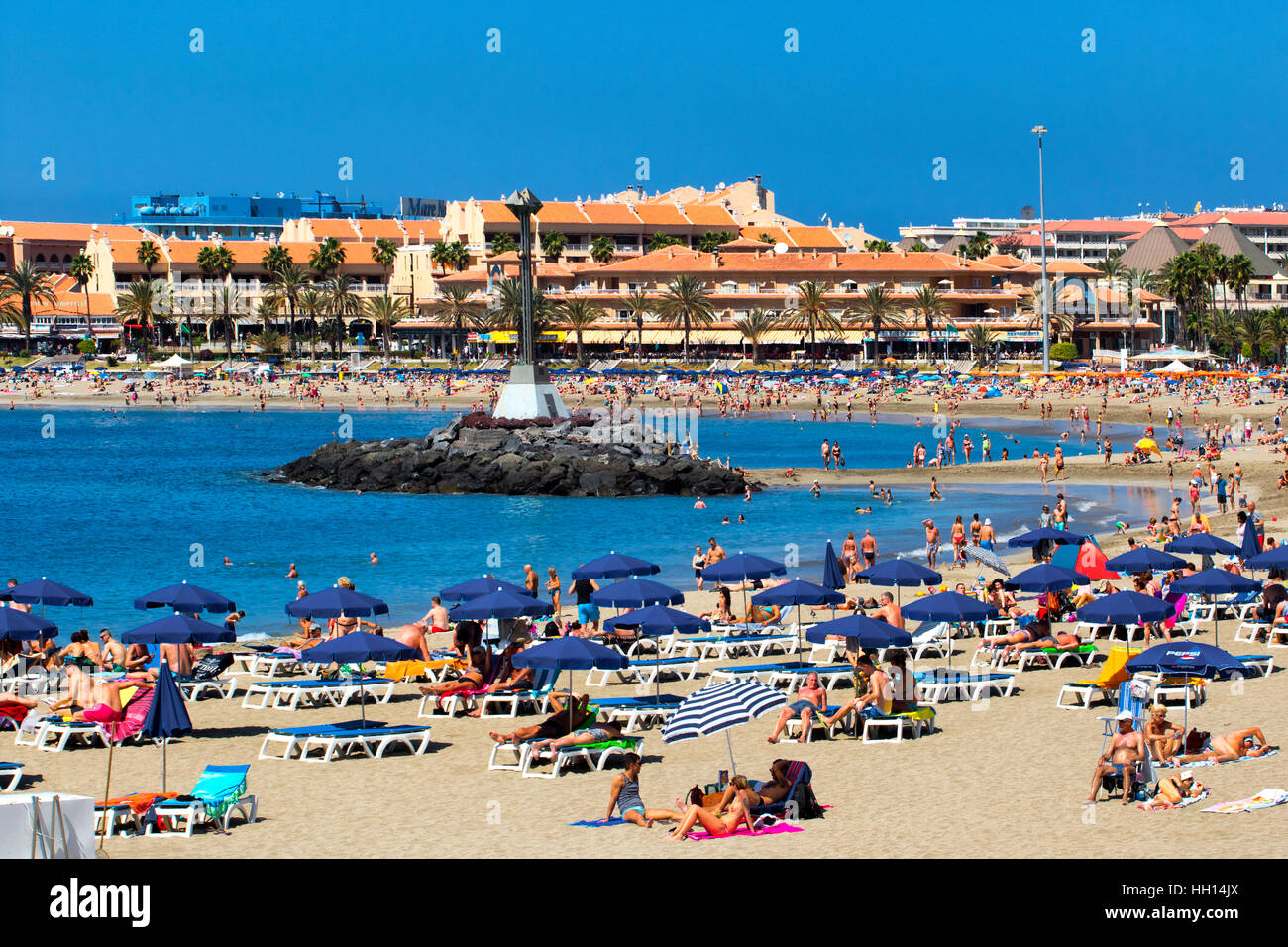 Los Christianos beach in Tenerife, Canary islands - Stock Image