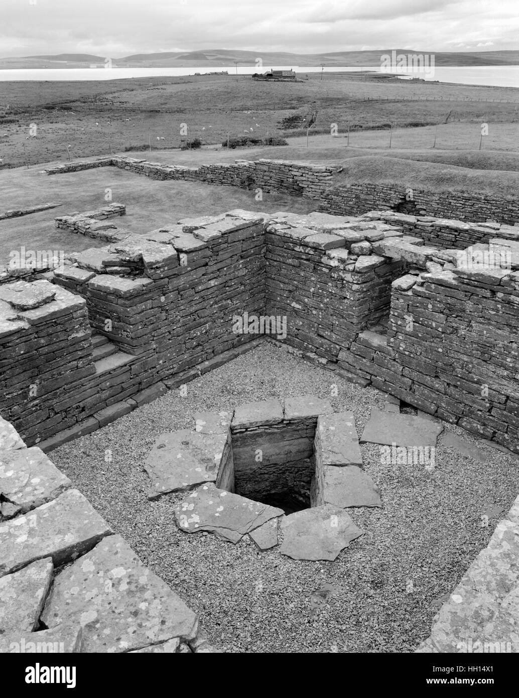 Water tank in storage basement of the keep of Cubbie Roo's Castle, Wyre, Orkney, built c.1145-50 by Kolbein - Stock Image