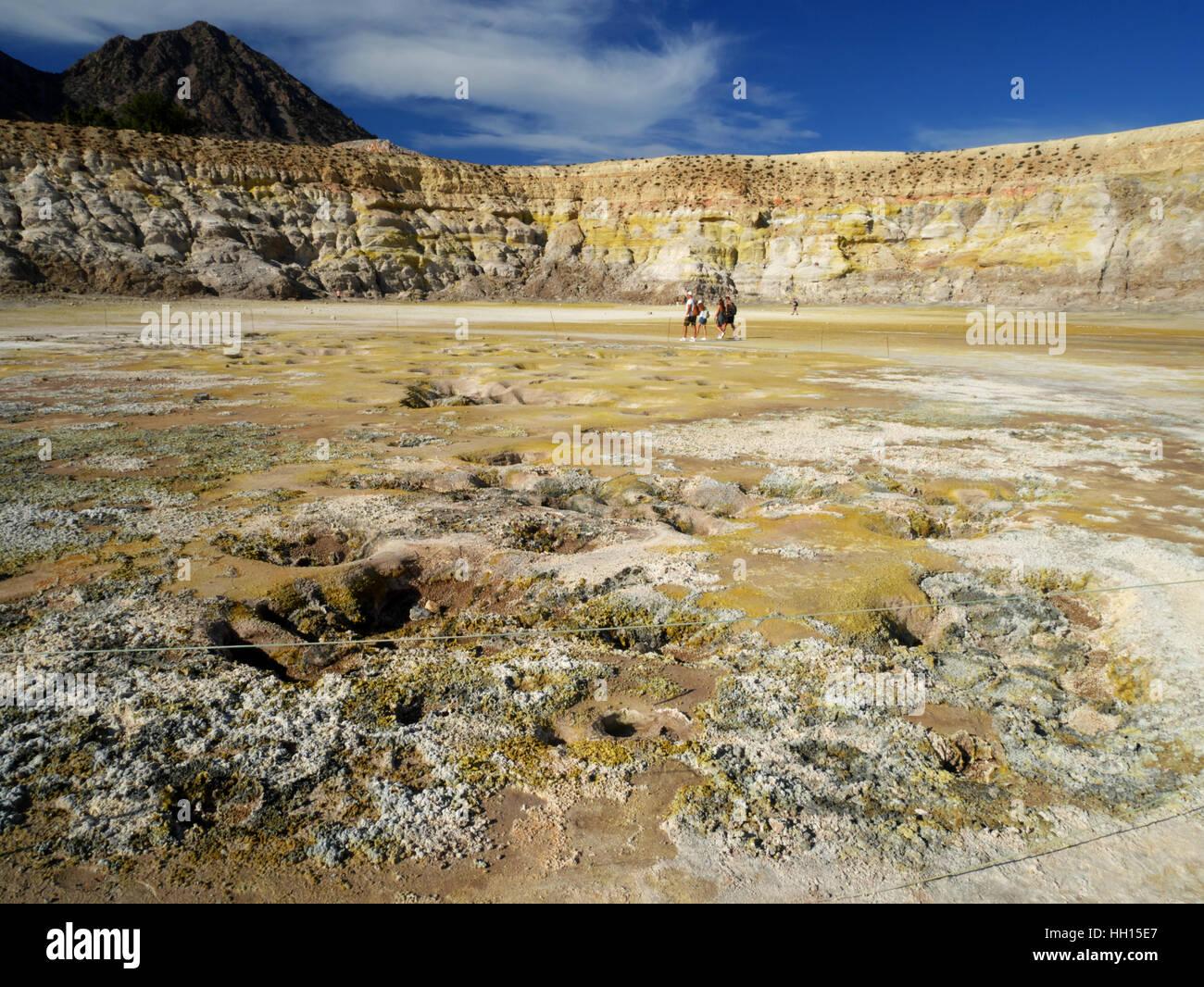 Fumaroles, Stefanos Crater, Lakki, Nysiros, Greece. - Stock Image
