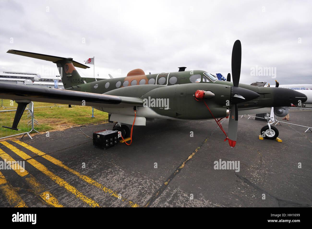 L3 Communications 'Spyder' surveillance platform using a Beechcraft King Air twin engined aircraft - Stock Image