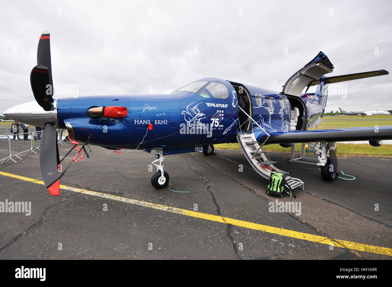 Pilatus PC-12 is a single-engine turboprop passenger and cargo aircraft manufactured by Pilatus Aircraft of Switzerland. - Stock Image