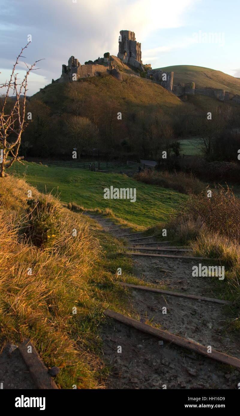 Corfe Castle in early morning light Dorset - Stock Image