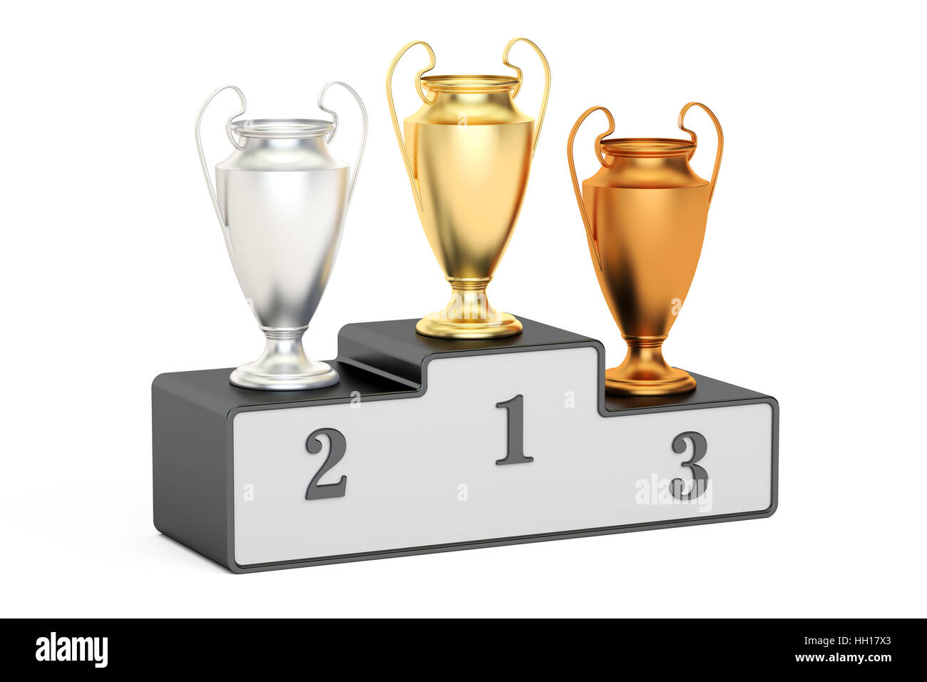 Golden, silver and bronze trophy cups on black pedestal, 3D rendering isolated on white background - Stock Image