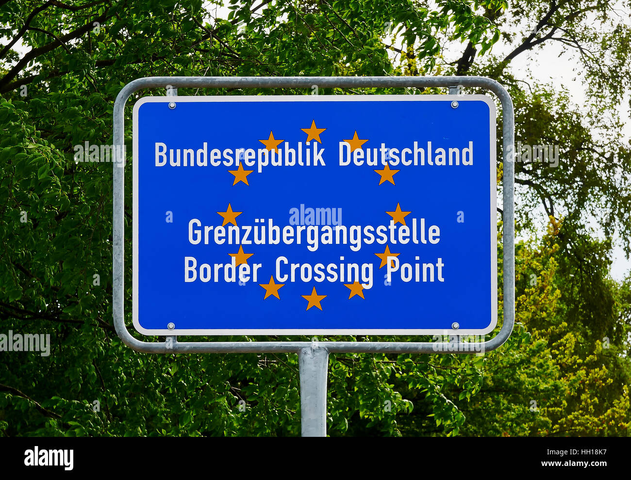 Border Crossing Point to Germany, EU - Stock Image