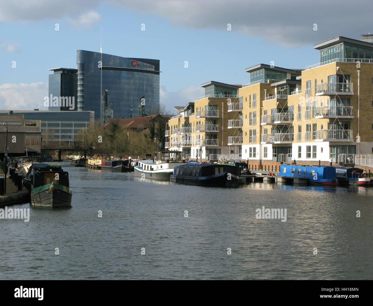 London, United Kingdom - March 4, 2008: Brentford Marina, River Brent, Greater London, Brentford, England, United - Stock Image