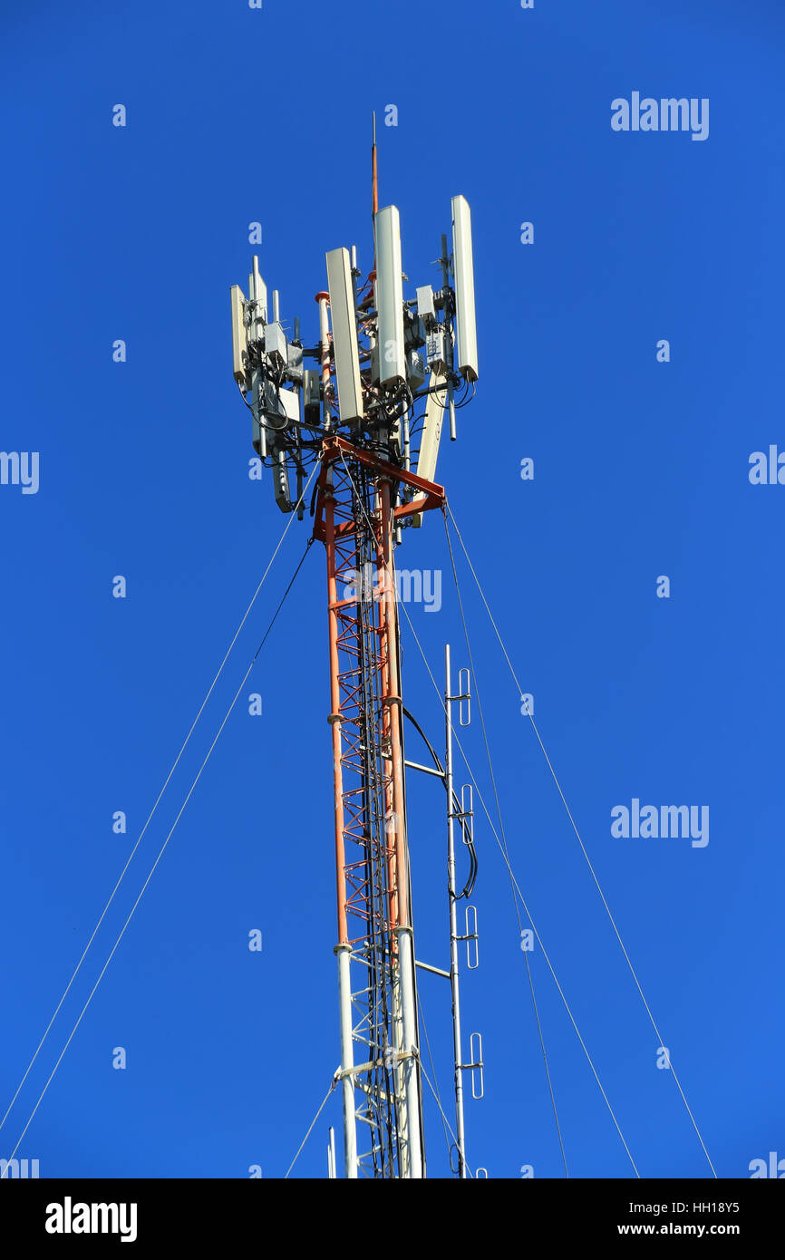 4G Cell site, Telecom radio tower or mobile phone base station - Stock Image
