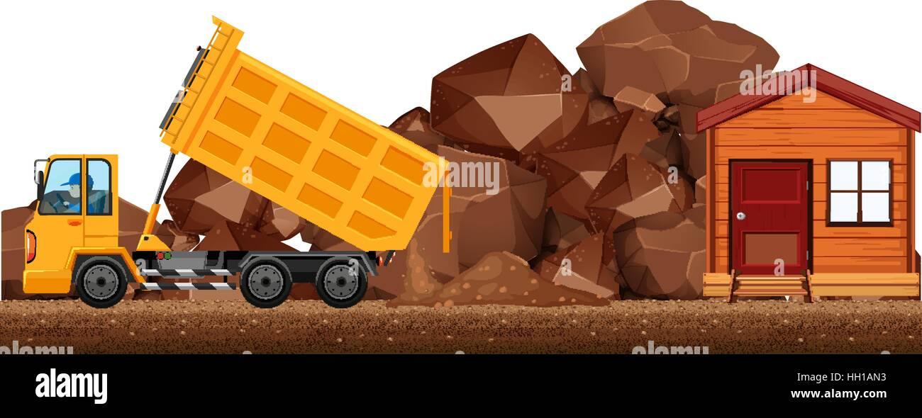 Dumping truck dumping soil on the construction site illustration - Stock Image