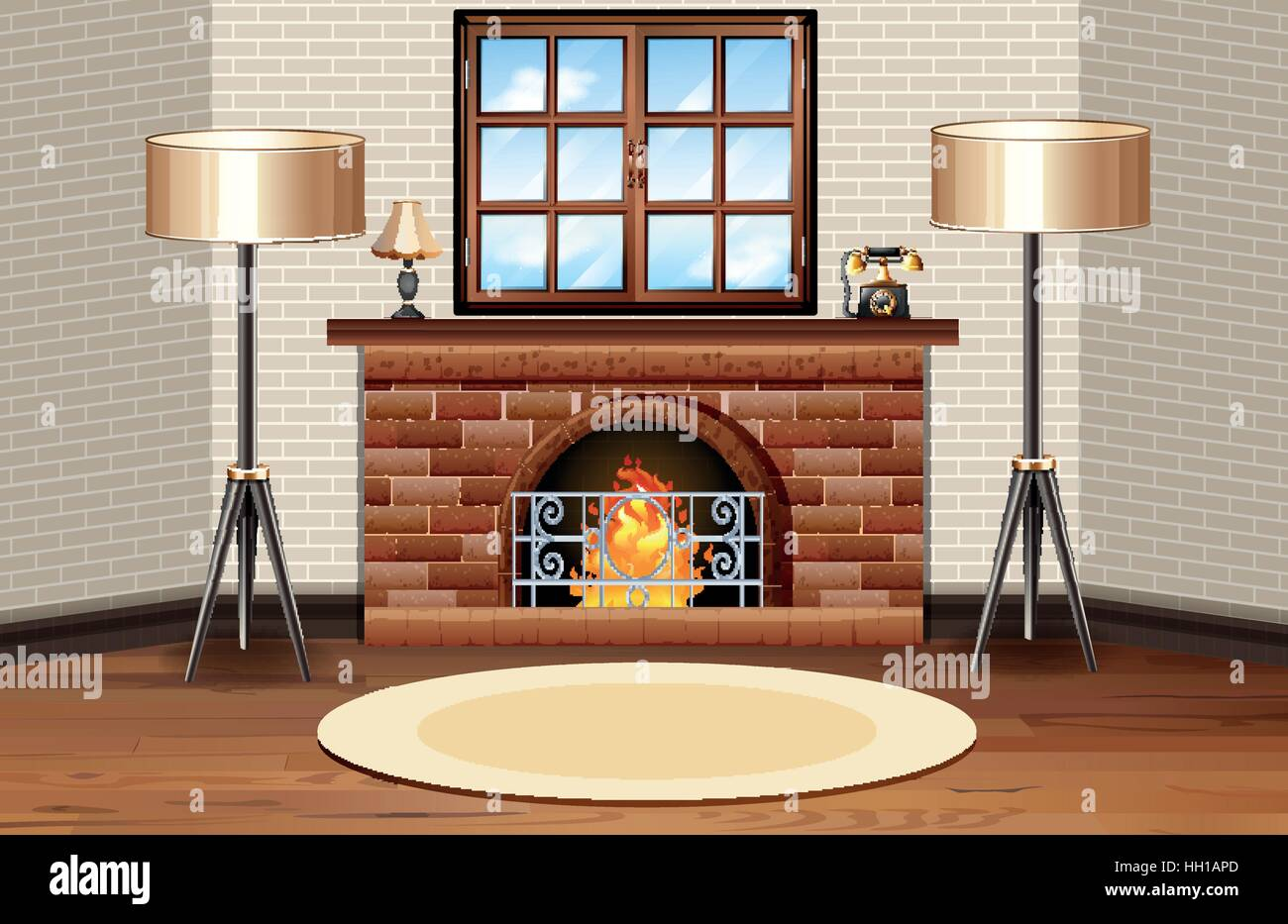 Room scene with fireplace and lamps illustration - Stock Vector