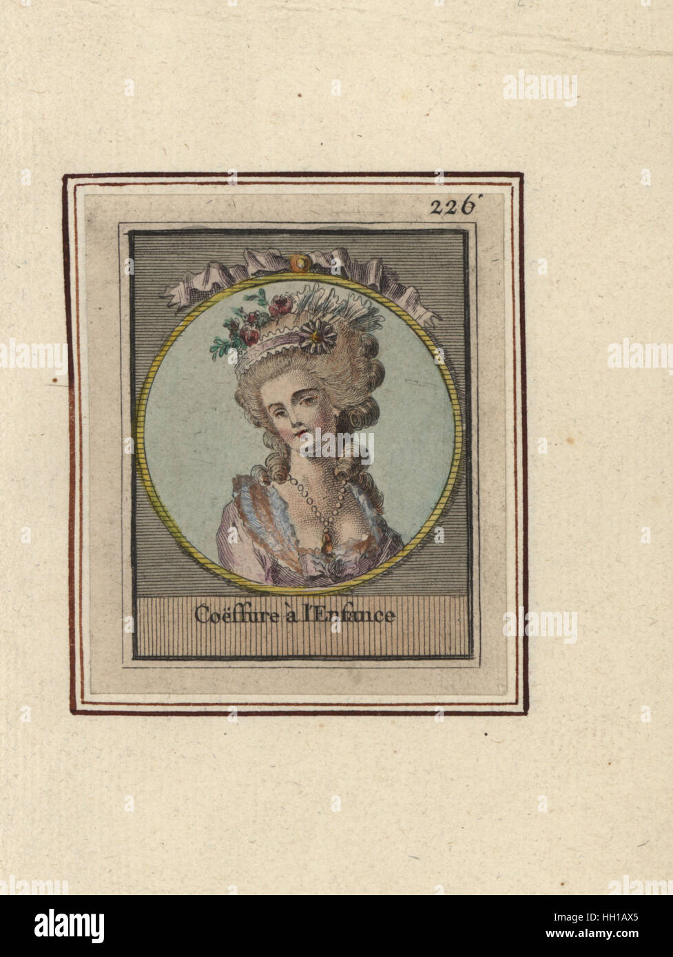 Woman in hairstyle decorated with ribbons and flowers called Childhood. Coeffure a l'Enfance. Handcoloured copperplate Stock Photo