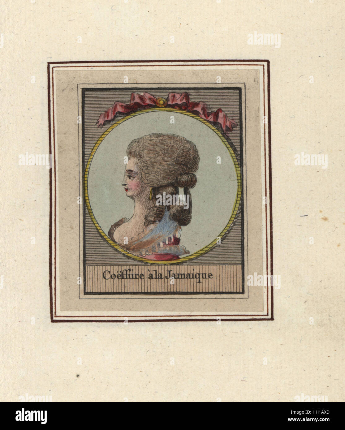 Woman in hairstyle with ringlets called the Jamaican. Coeffure a la Jamaique. Handcoloured copperplate engraving - Stock Image