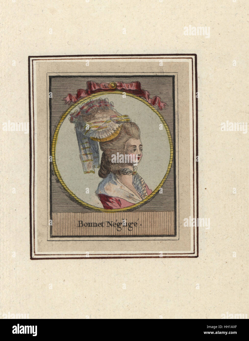 Woman in a rumpled bonnet. Bonnet neglige. Handcoloured copperplate engraving by an unknown artist from an Album - Stock Image