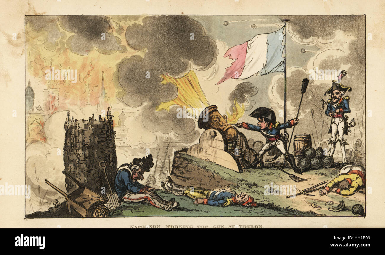 Napoleon working the gun at the Siege of Toulon, 1793. Handcoloured copperplate engraving by George Cruikshank from - Stock Image