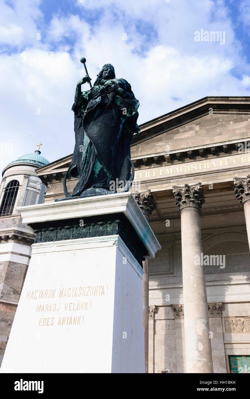 Esztergom (Gran): Basilica church and Marien's statue, , Komarom-Esztergom, Hungary - Stock Image