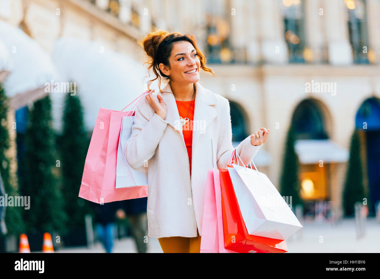 Woman doing shopping in Paris, Place Vendome - Stock Image