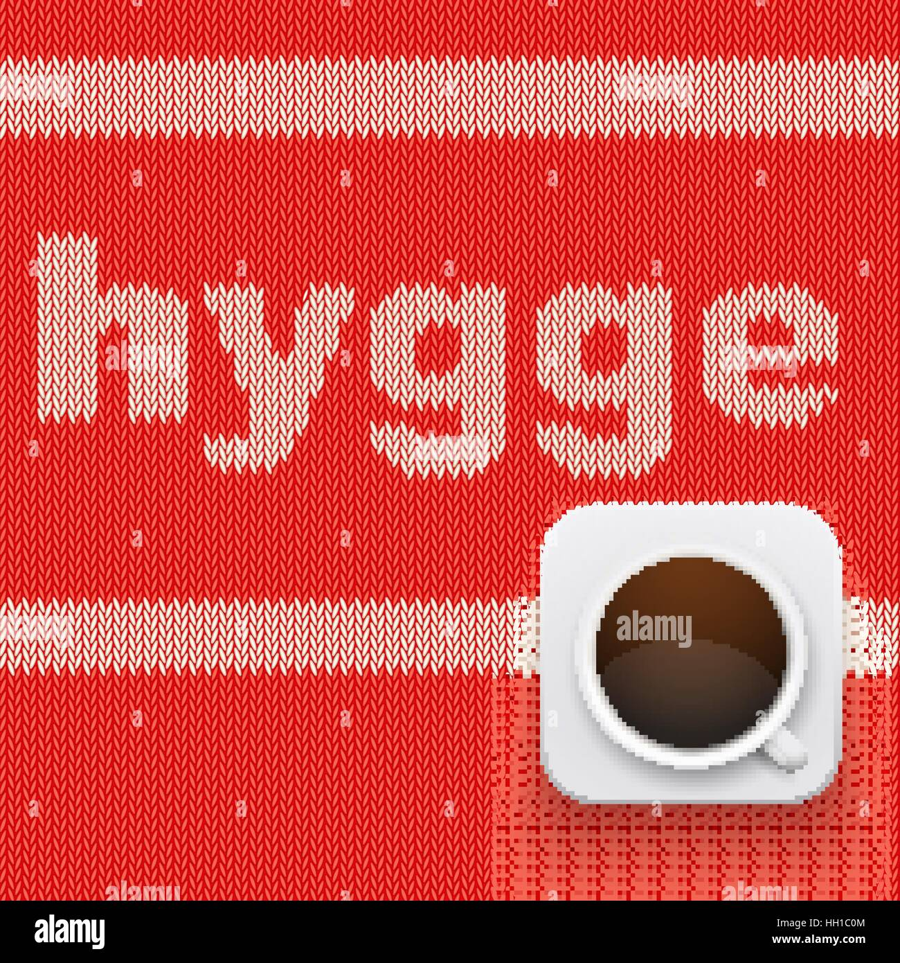 Word HYGGE on knitting texture - Stock Image