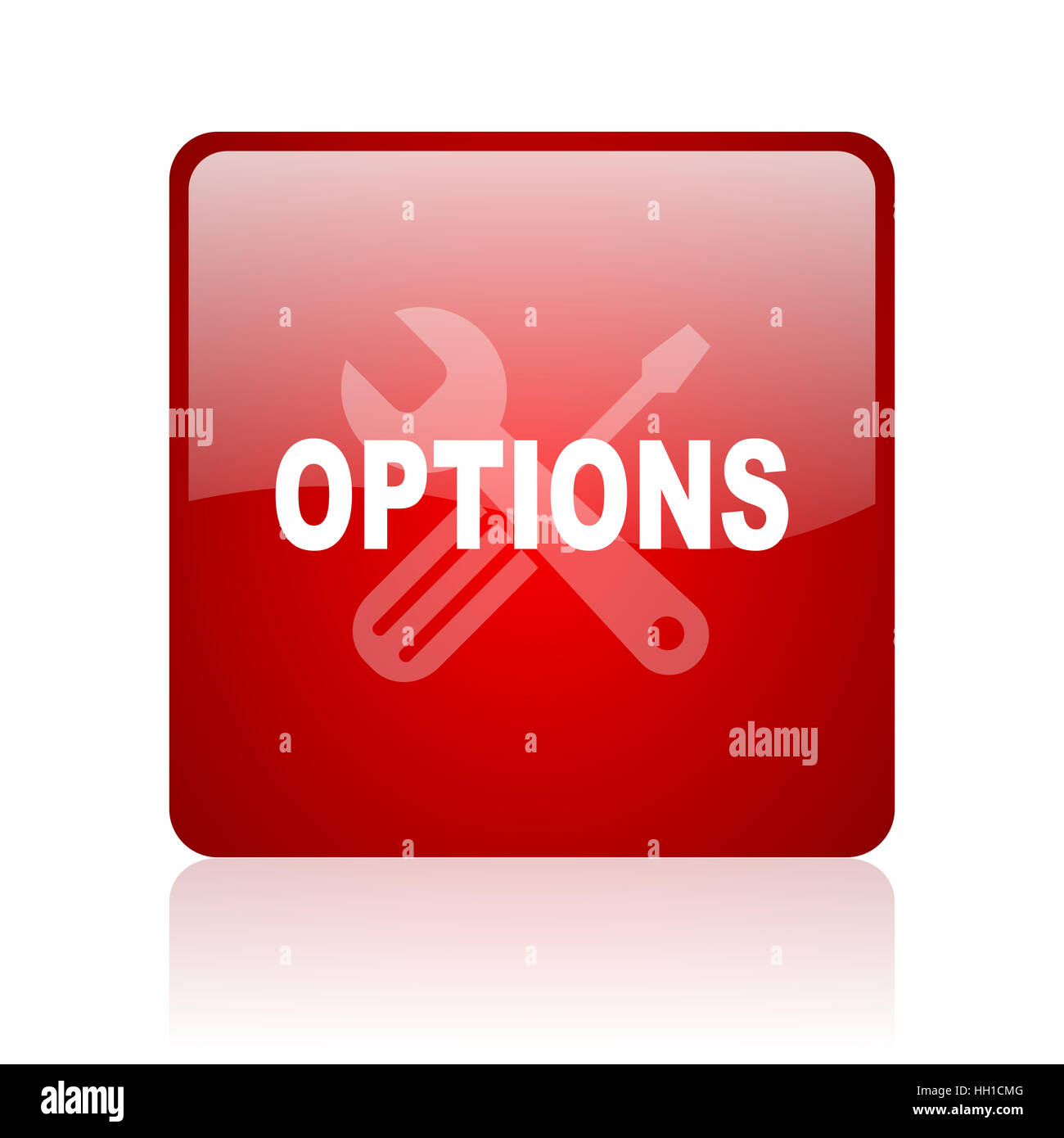 options red square web glossy icon - Stock Image