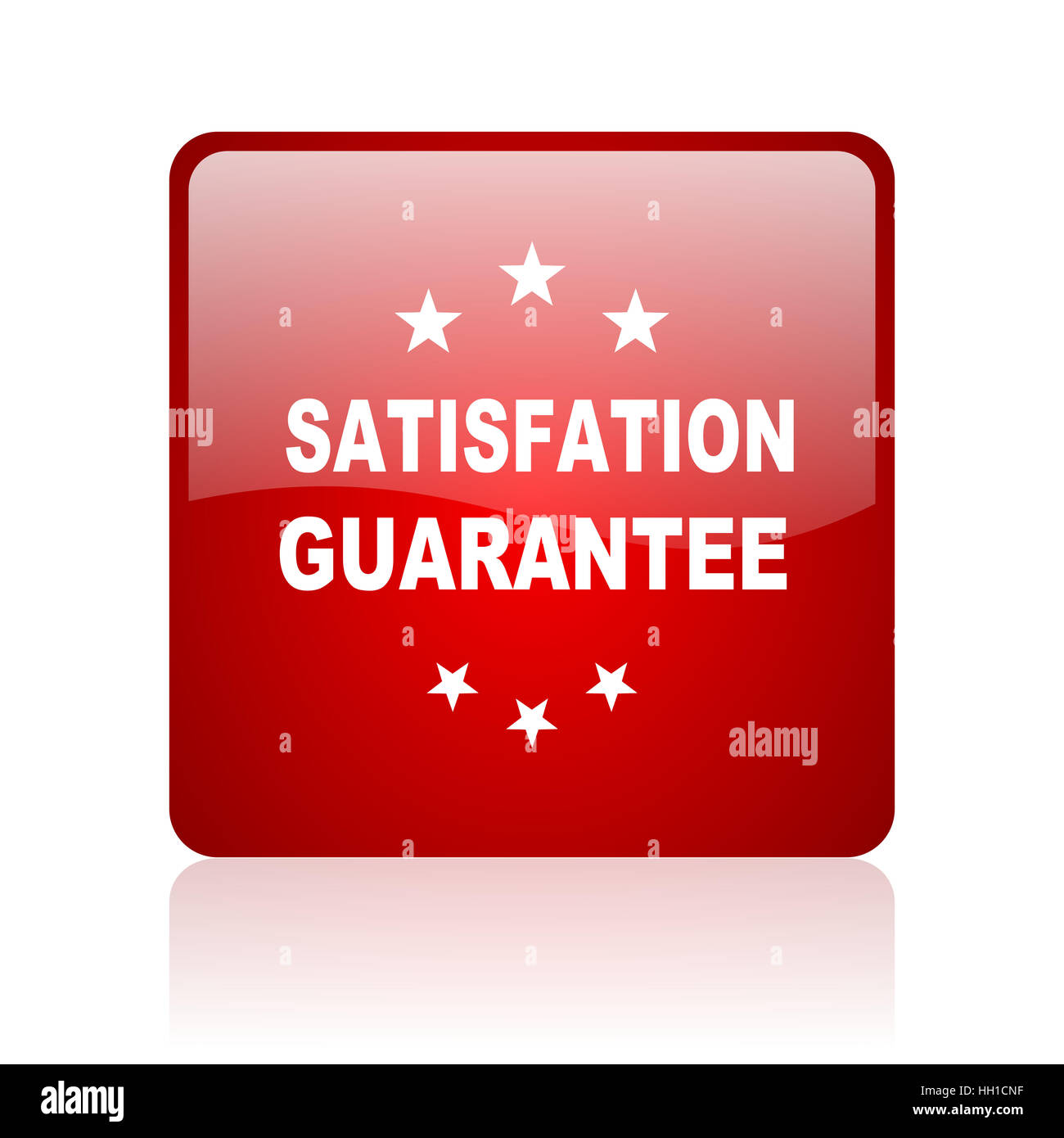 satisfaction guarantee red square web glossy icon - Stock Image