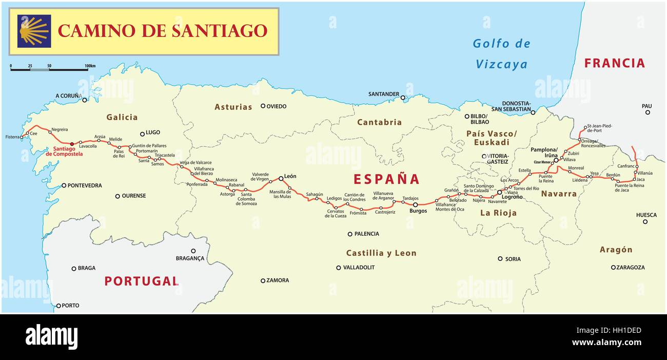 31252672933dd Way of St. James map (Camino de Santiago Stock Vector Art ...