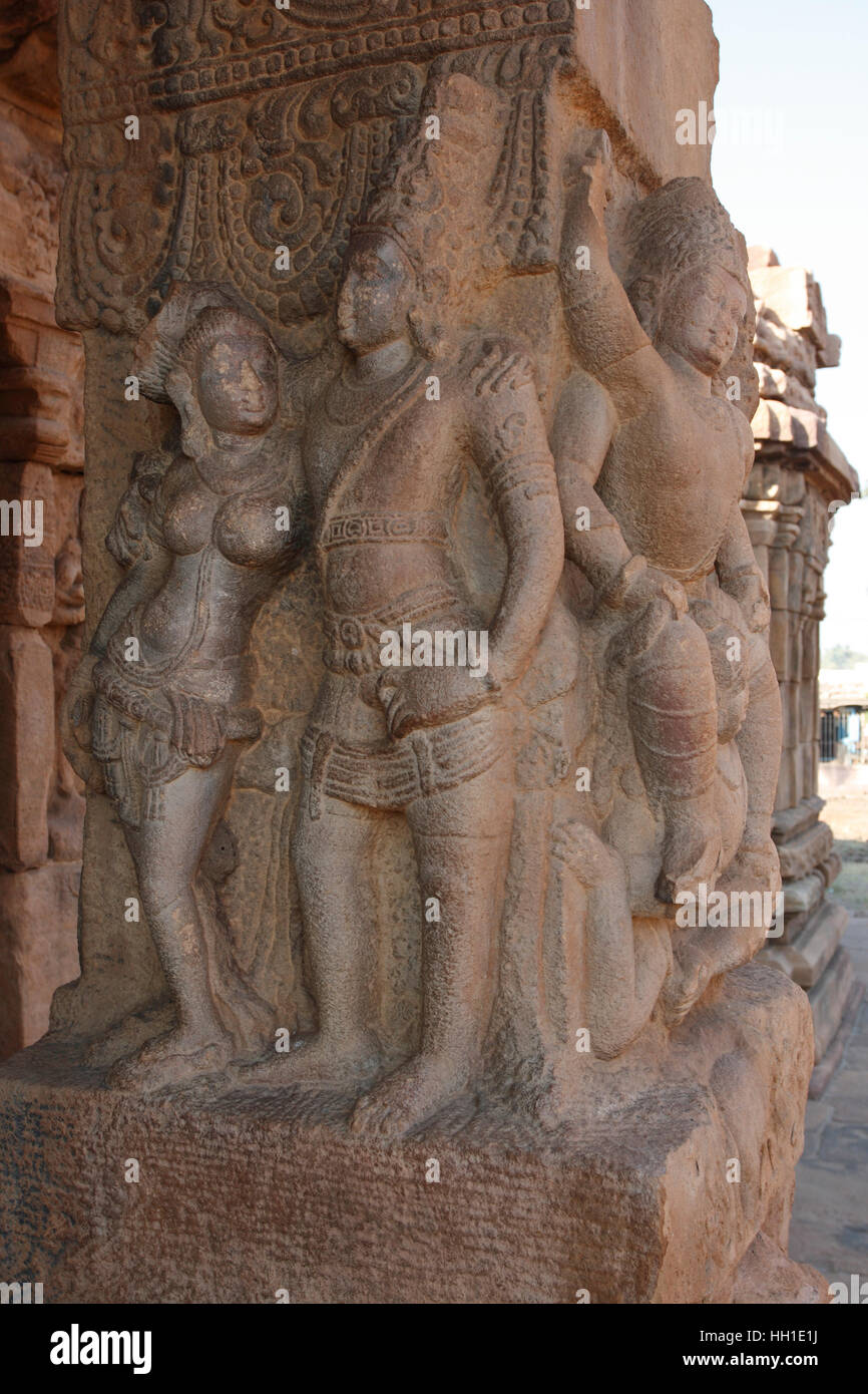 Sculptures at the entrance of a hindu temple dedicated to
