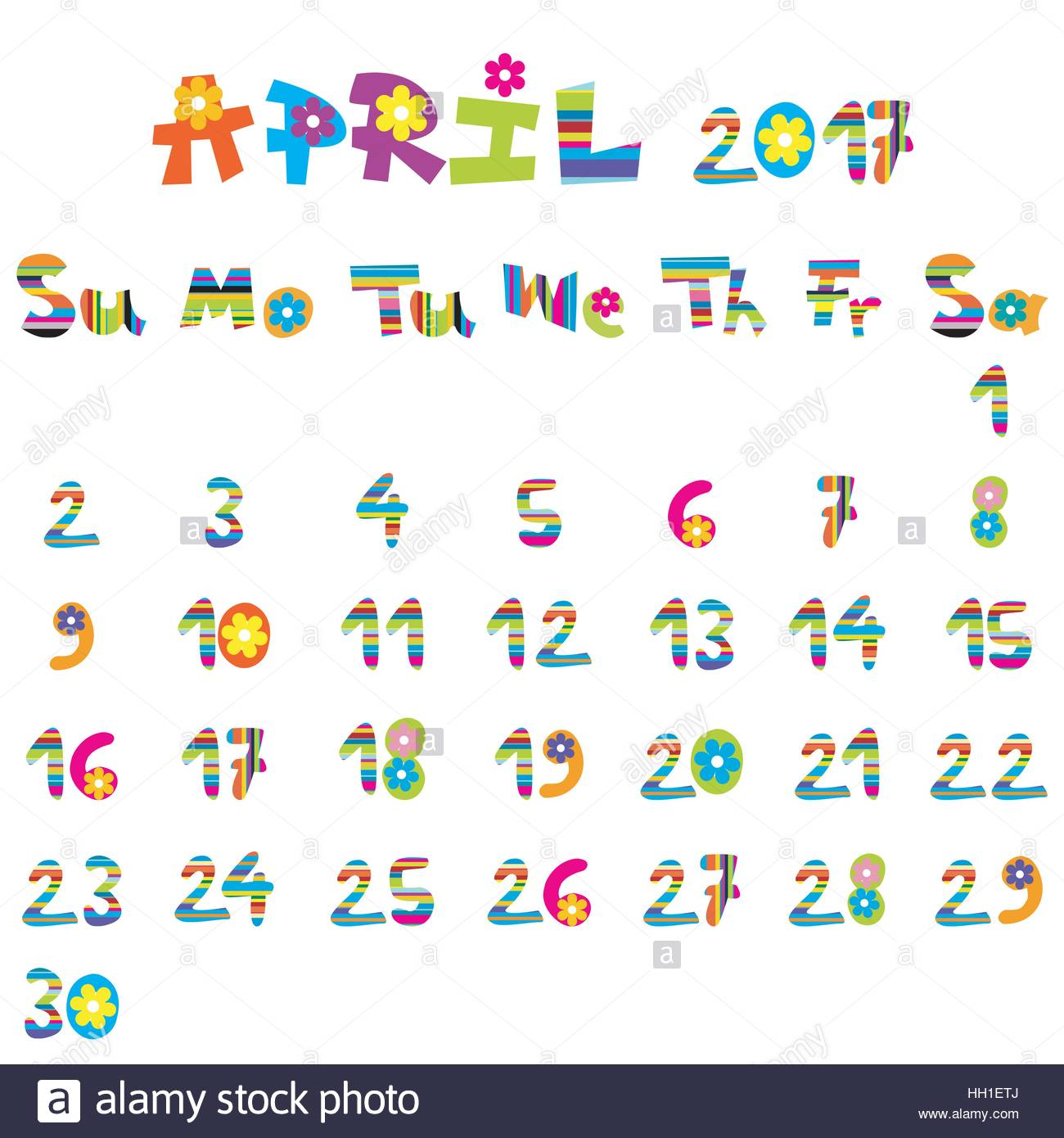 cute april 2017 calendar for kids stock vector art illustration