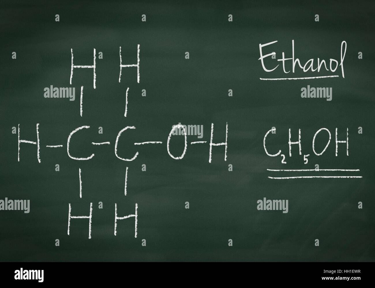 Chemical formula of ethanol on a chalkboard - Stock Image