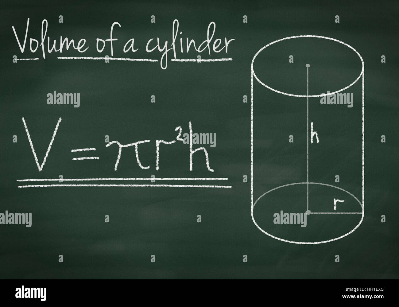 Volume of a cylinder on a chalkboard - Stock Image