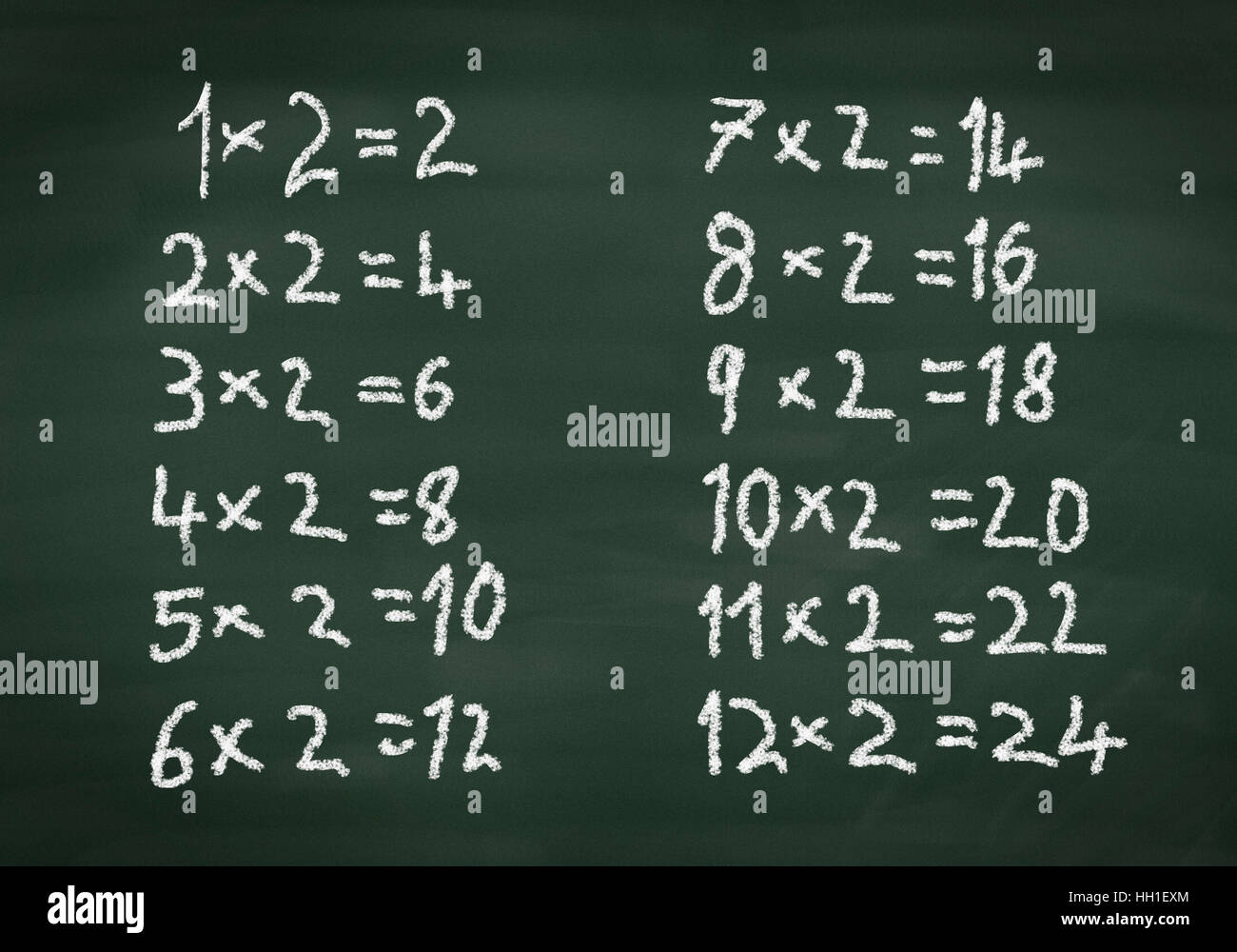 Simple maths times tables on a chalkboard Stock Photo: 130955404 - Alamy