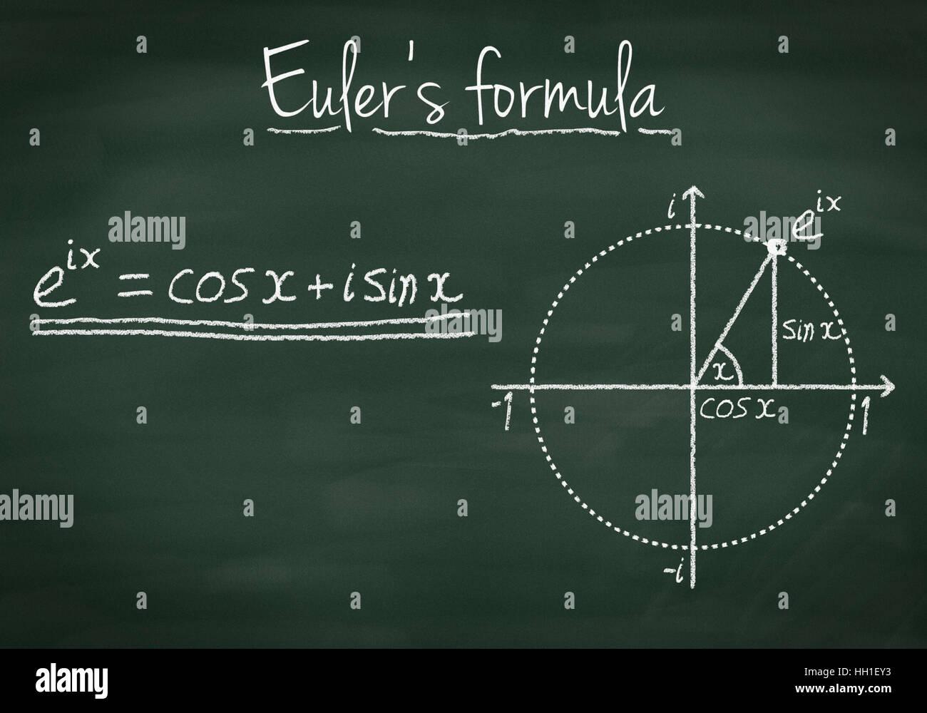 Euler's formula explained on a chalkboard - Stock Image