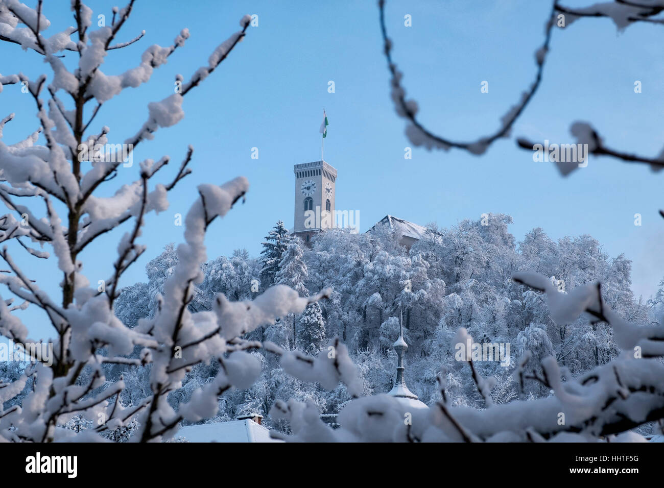 View of Ljubljana, Slovenia, covered with snow - Stock Image