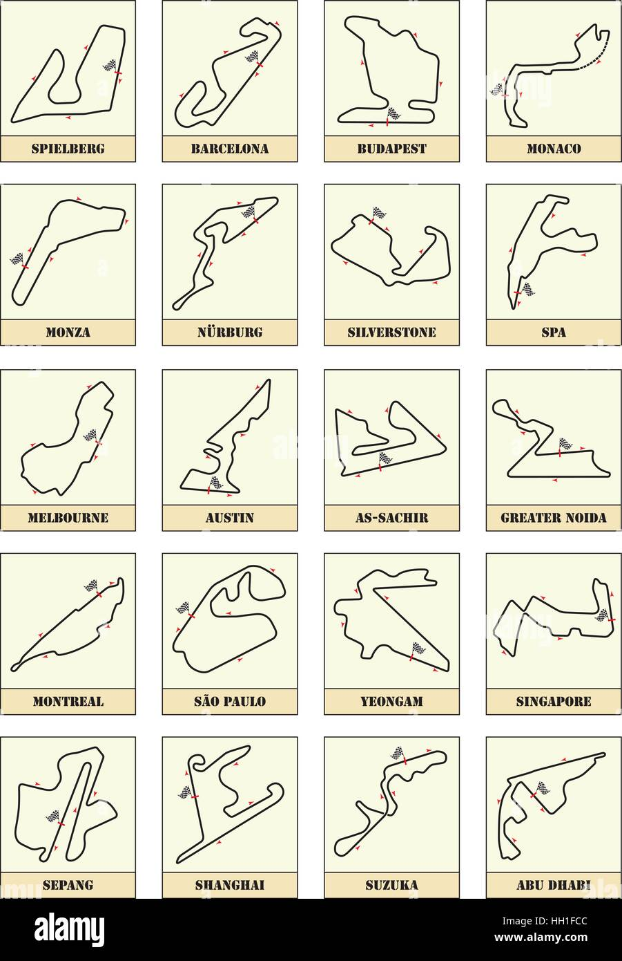 f1 racing circuit maps - Stock Image