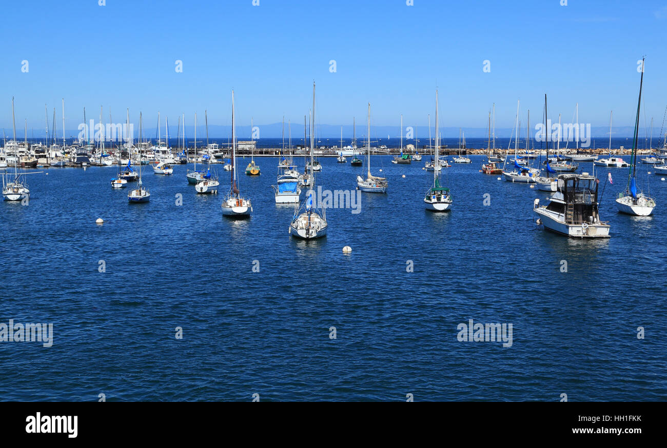 Dozens of boats are anchored at a marina in Monterey, California. - Stock Image