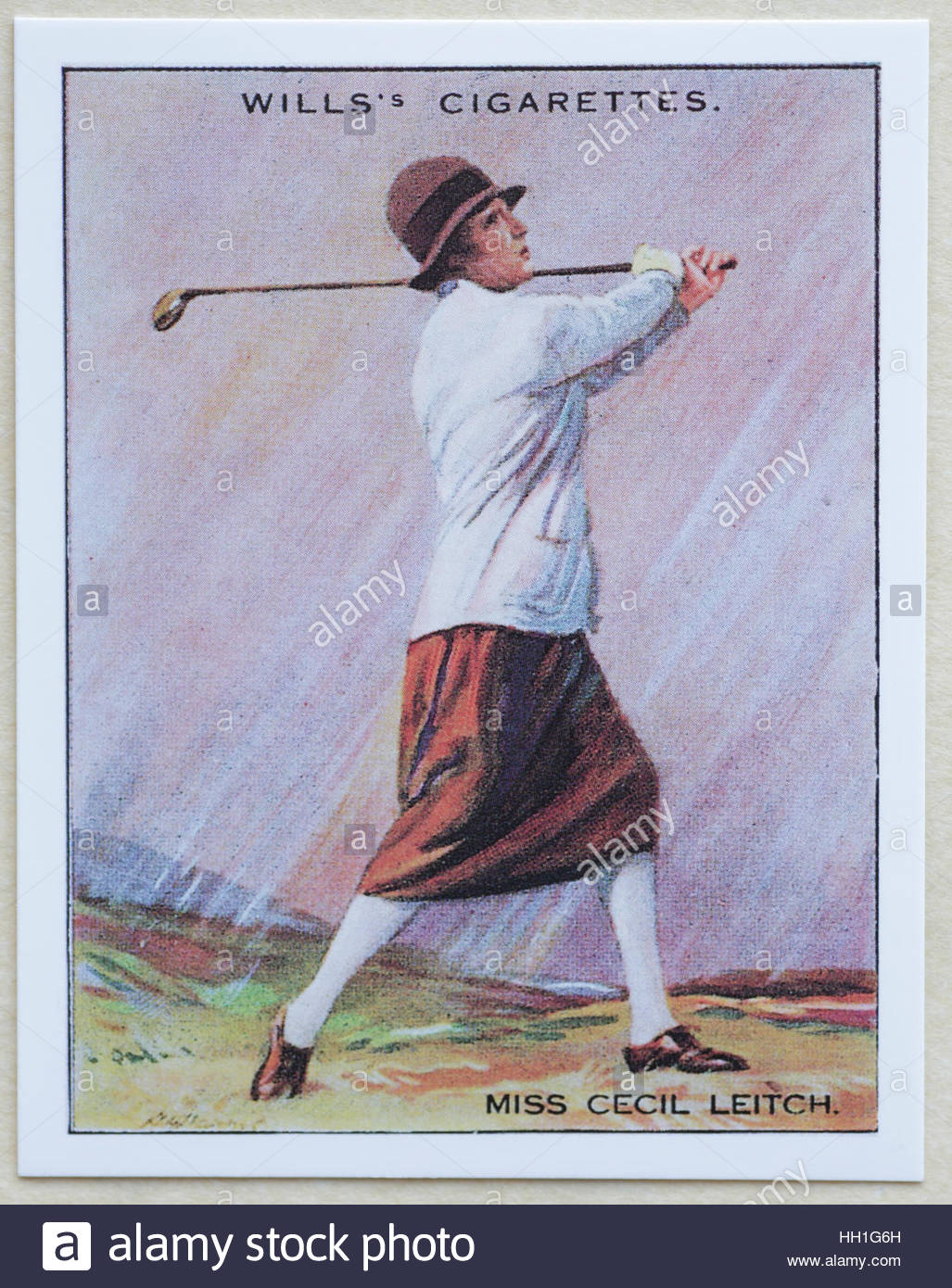 Miss Cecil Leitch - Famous Golfers, cigarette cards issued in 1930 by W.D.& H.O. Wills cigarettes. - Stock Image