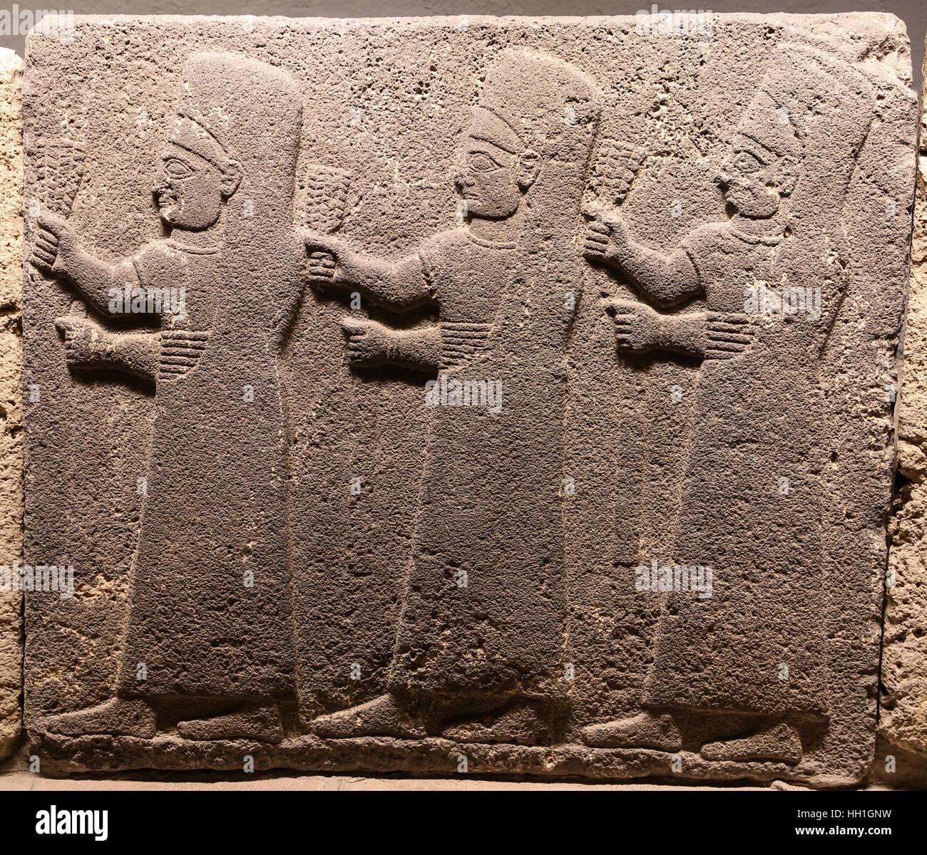 Orthostats of procession in Museum of Anatolian Civilizations, Ankara, Turkey Stock Photo