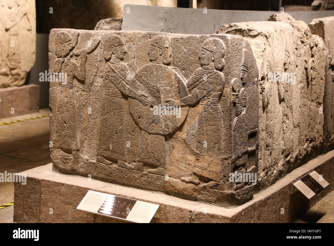 Orthostats of procession in Museum of Anatolian Civilizations, Ankara, Turkey Stock Photo
