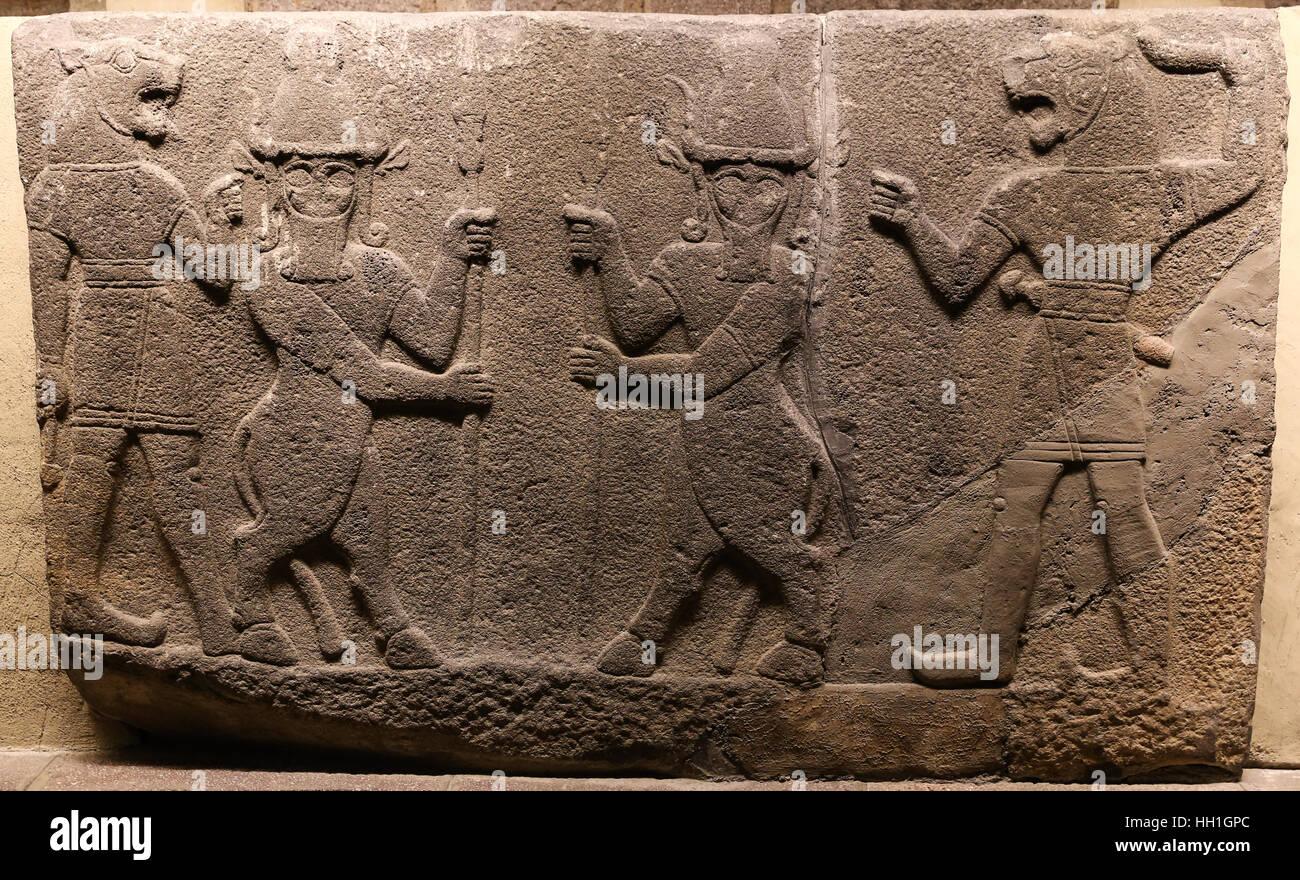 Orthostats of Heralds Wall in Museum of Anatolian Civilizations, Ankara, Turkey Stock Photo