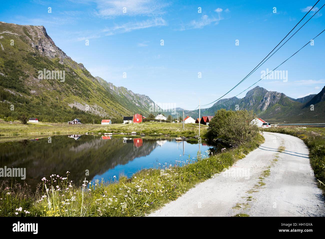 Grunnfarnes on Senja island in norther Norway - Stock Image