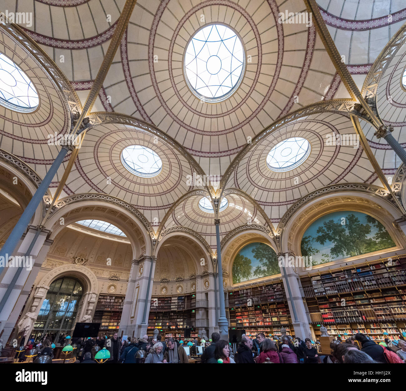 Paris France January 14th 2017 :  Famous Labrouste lecture room in the French National Library rue Vivienne in Paris - Stock Image
