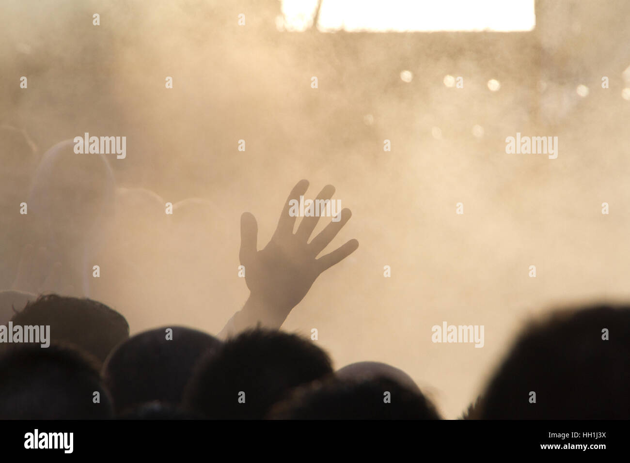 Hands above the Ba scrum, Kirkwall New Year Ba game - Stock Image