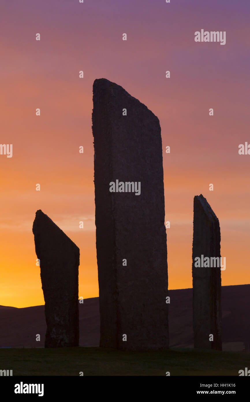 Megalithic Stones of Stenness, Orkney Stock Photo