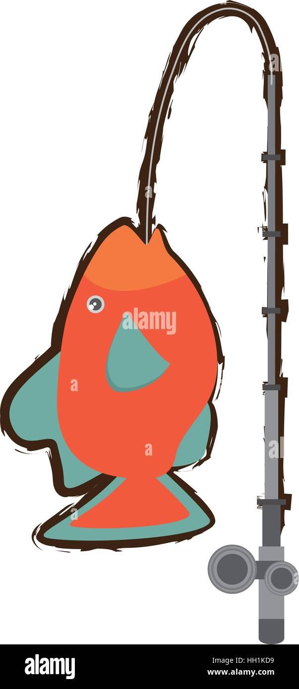 orange fish marine ecosystem life fishing rod - Stock Vector