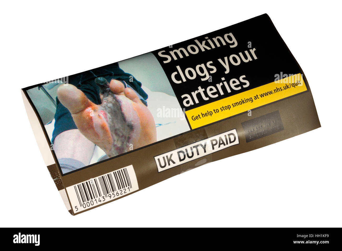 New standardised 2017 50g pack of Old Holborn with health warnings, drab colours and anonymous packaging. - Stock Image