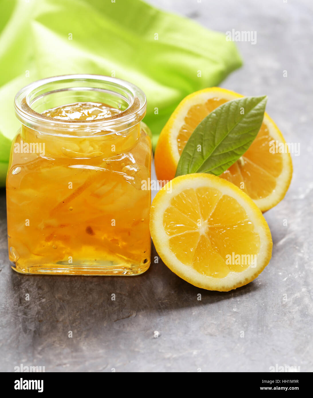 natural lemon jam with zest, homemade canned food - Stock Image