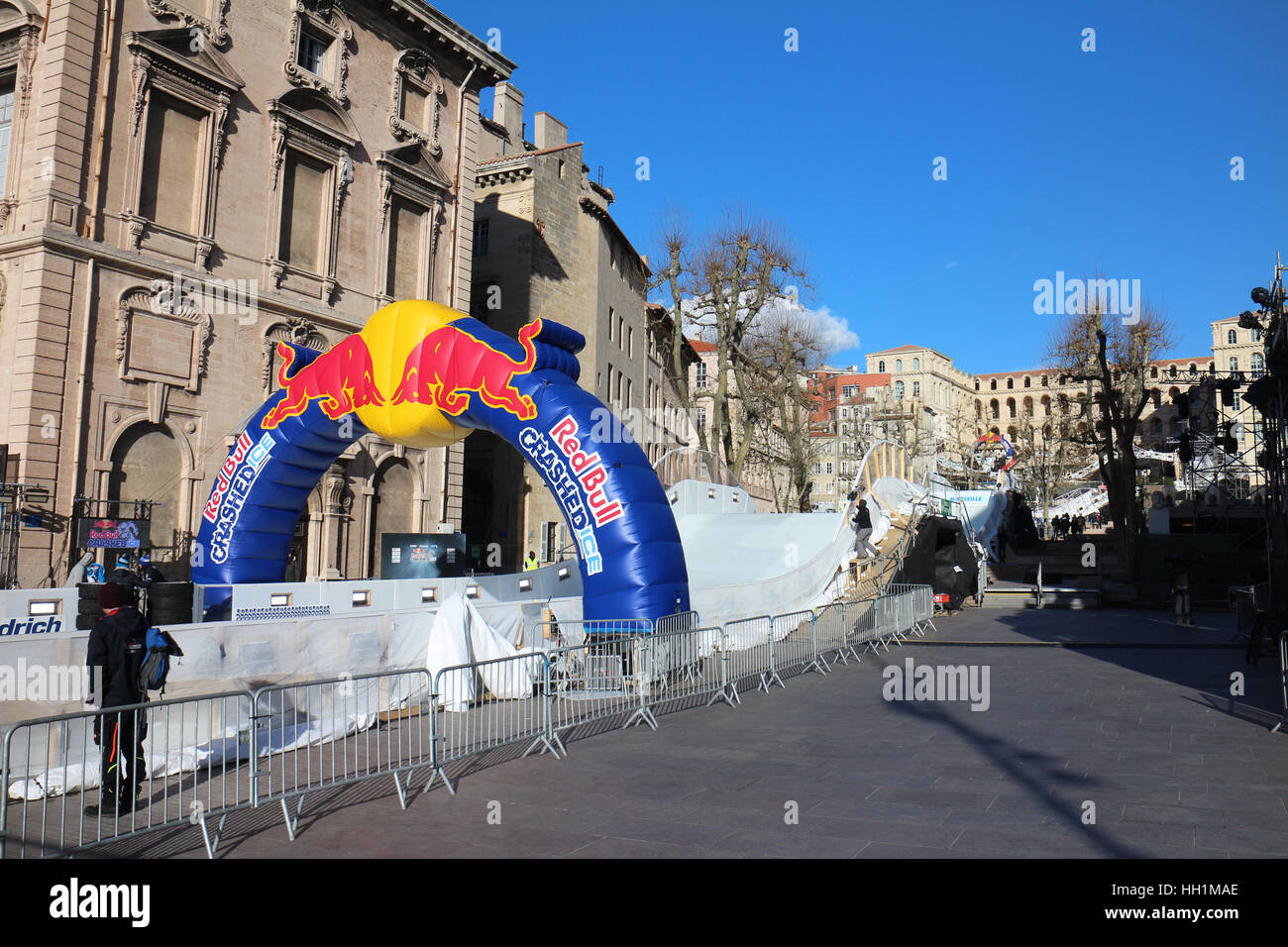From January 14 to Januray 15,2017 Red Bull Crushed Ice the ice skate competition will take place in Marseilles - Stock Image