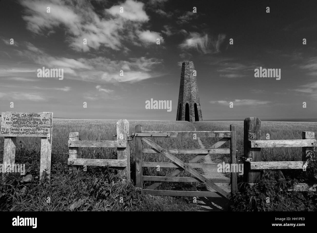 Summer, the stone built Daymark Tower, at Forward Point, Start Bay, near Dartmouth, Devon County, England, UK - Stock Image